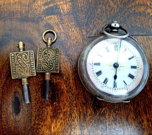 Vintage H Samuel Silver Pocket Watch with keys - THE VINTAGE LOOK Henley-on-Thames