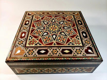Load image into Gallery viewer, Vintage Square Mother of Pearl Syrian Mosaic Box 20cm x 20cm - THE VINTAGE LOOK Henley-on-Thames