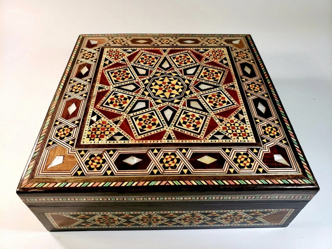 Vintage Square Mother of Pearl Syrian Mosaic Box 20cm x 20cm - THE VINTAGE LOOK Henley-on-Thames