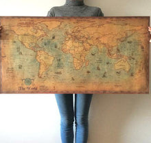 Load image into Gallery viewer, Vintage Style Nautical Ocean World Map Sticker Poster - THE VINTAGE LOOK Henley-on-Thames