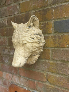Wall Mounted Concrete Wolf's Head 30cm x 20cm - THE VINTAGE LOOK Henley-on-Thames