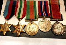 Load image into Gallery viewer, WWII South African Forces Group of 5 Medals + Paperwork - THE VINTAGE LOOK Henley-on-Thames