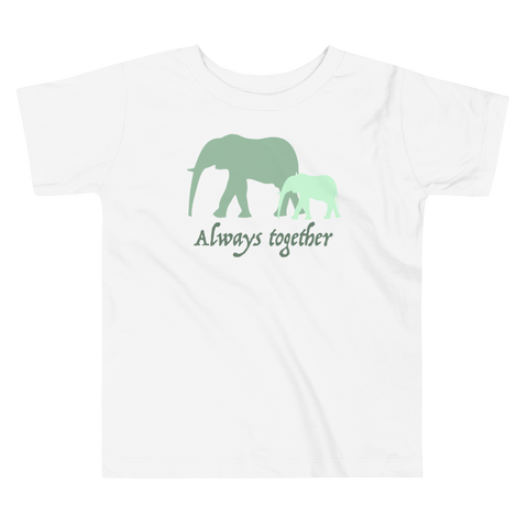 Always Together Green. Girl & Boy Toddler Short Sleeve Tee. From 2 to 5 years.
