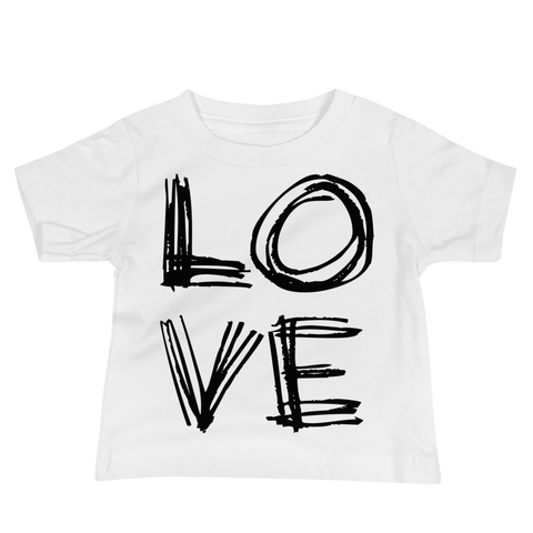 LOVE Baby Girl & Boy Jersey Short Sleeve Tee. From 6 to 24 months.