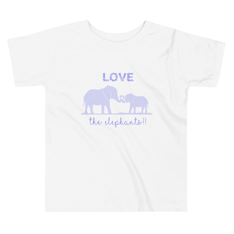 Love the Elephants. Girl & Boy Toddler Short Sleeve Tee. From 2 to 5 years.