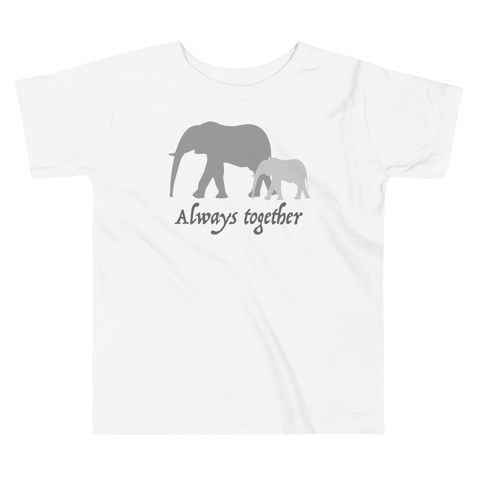 Always Together Grey. Girl & Boy Toddler Short Sleeve Tee. From 2 to 5 years.