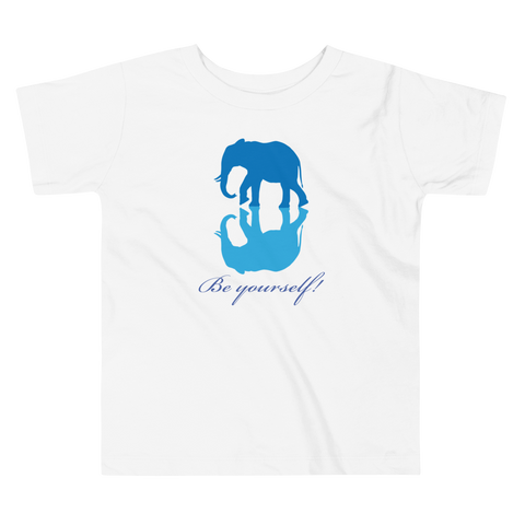 Blue Elephant. Girl & Boy Toddler Short Sleeve Tee. From 2 to 5 years.