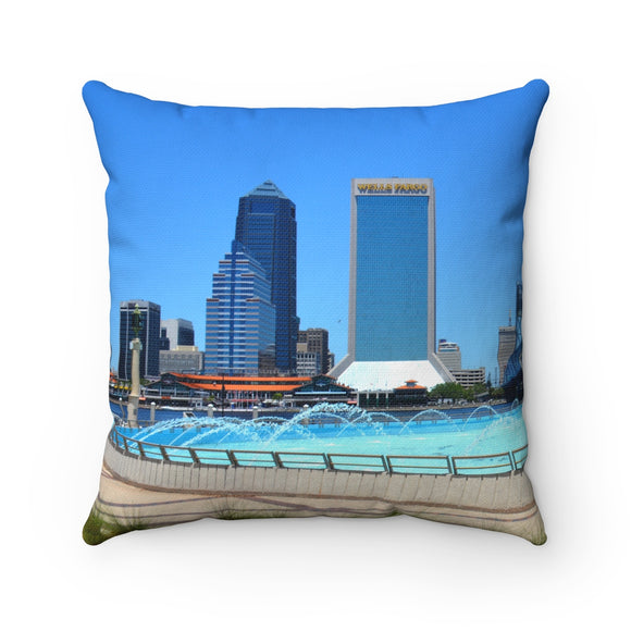 Friendship Fountain Spun Polyester Square Pillow