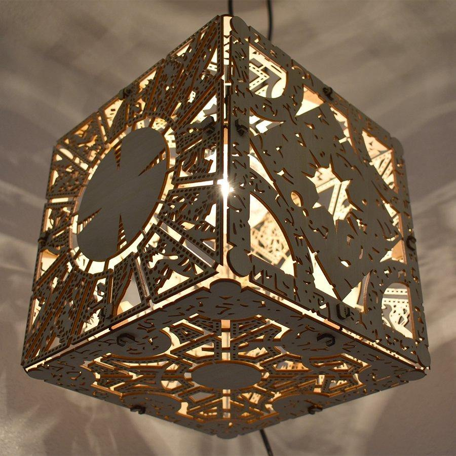 Hellraiser Puzzle Box - Wood Hanging Lamp