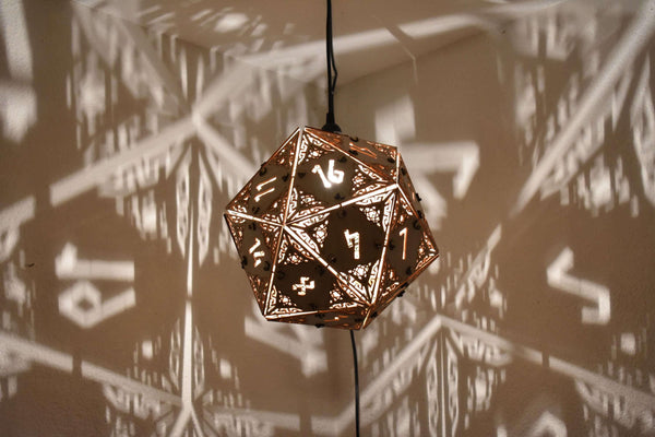 D20 Dungeons and Dragons Dice Lamp - Hanging Pendant, Geometric Lighting, Wood Lamp