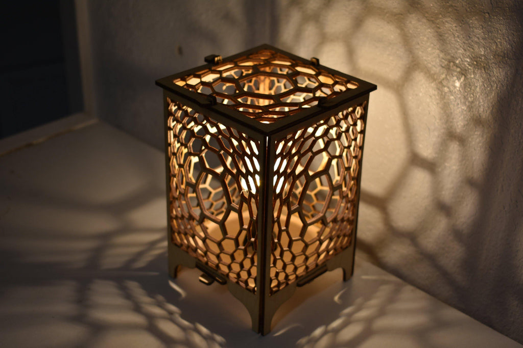Honeycomb Wood Table Lamp