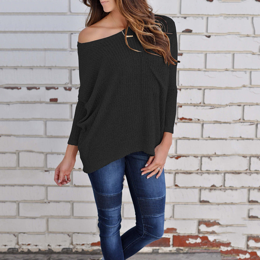 Fashion Solid Color Women's Casual Long Sleeve Top Sweater Knitwear T-shirt