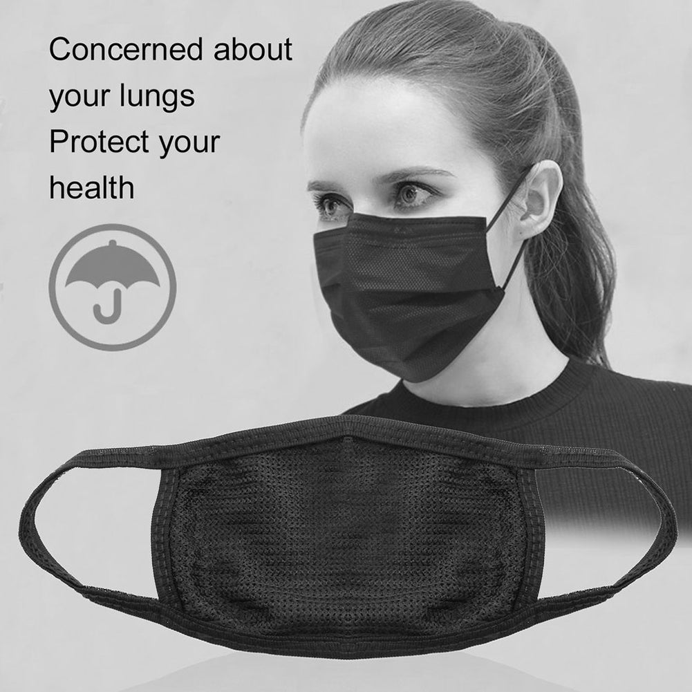 Men's Women's Black Health Cycling Anti-Dust Cotton Mouth Face Mask Respirator