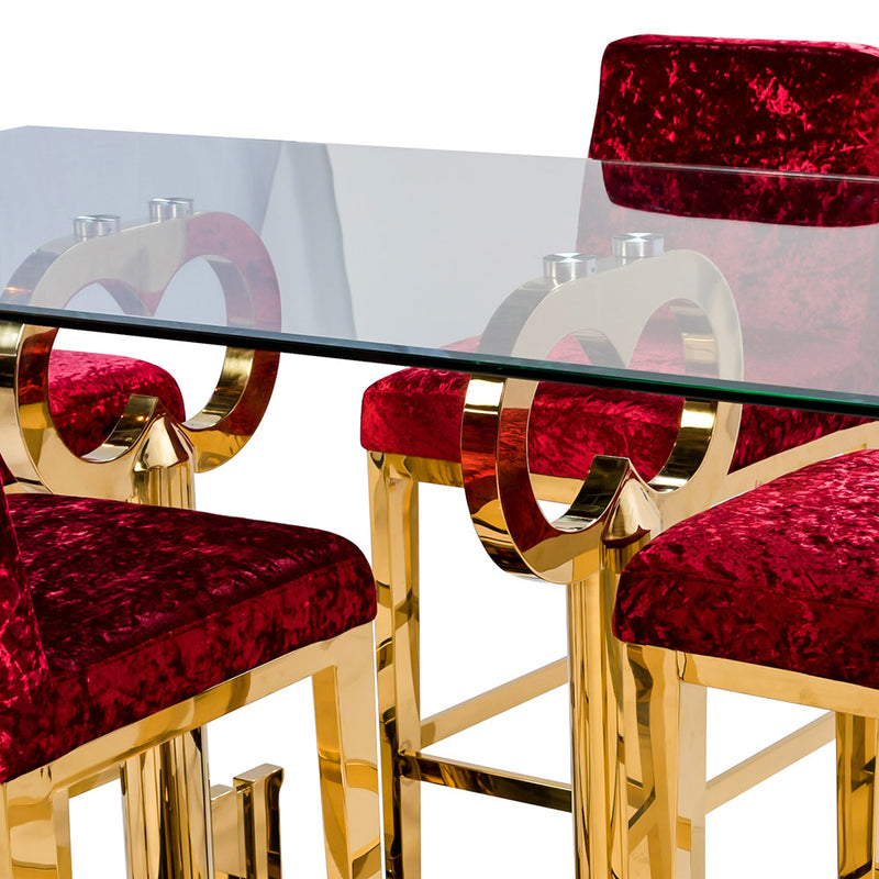 MAJOR KEY RED VELVET BAR STOOL