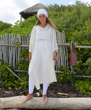 WHITE CROCHET PONCH-Kundalini Favorite