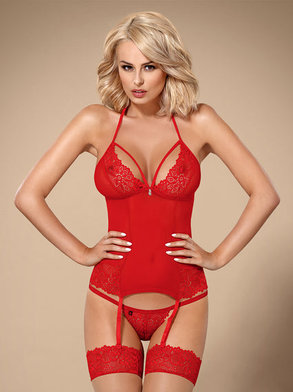 838-COR - Lace Corset & Matching Thong (In Black & Red)