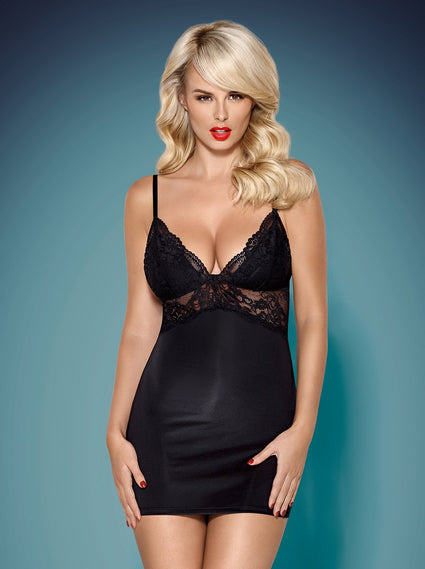 810-CHE - Chemise & Matching Thong (In Black or White)