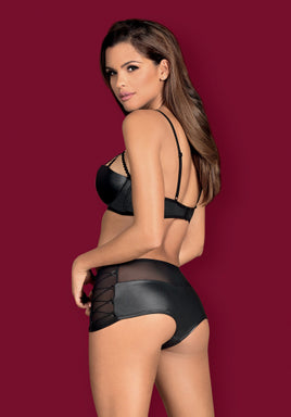 Leatheria Set - Wet Look Bra & Matching Shorties