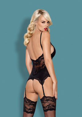810-COR-1 - Seductive Black Lace Corset & Matching Thong