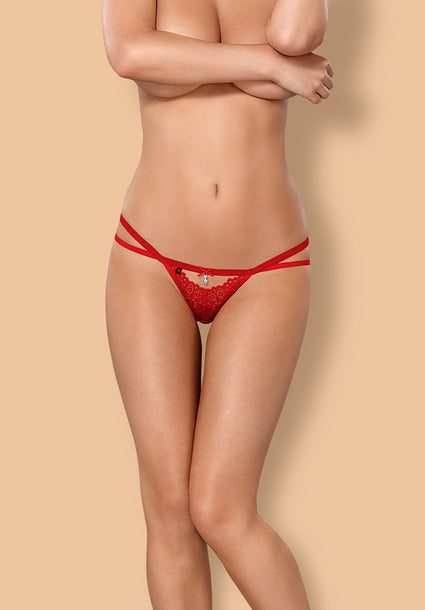 838-THO-3 - Gorgeous Red Lace Thong With Straps