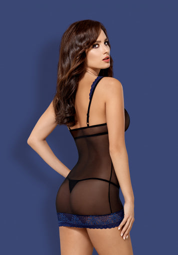 850-CHE-6 - Blue Black Sexy Chemise & Matching Thong