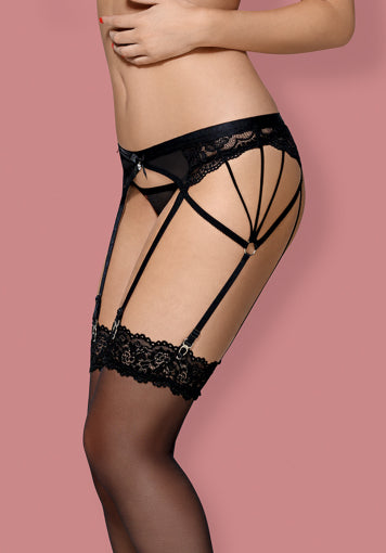 854-GAR-1 - Black Garter Belt & Matching Thong