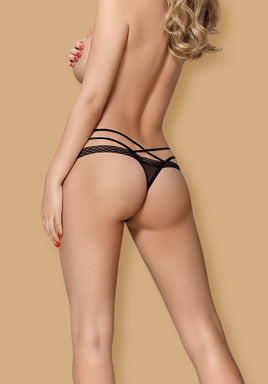 Seductive Black Lace Thong With Straps