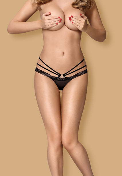 855-THO-1 - Seductive Black Lace Thong With Straps