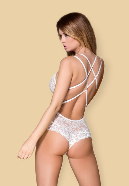 860-TED-2 - Irresistible White Lace Teddy With Straps