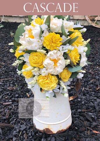Yellow and white Cascade Brides Bouquet