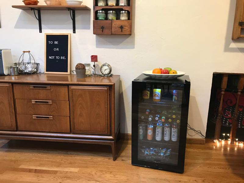 Newair 126 Can Freestanding Beverage Fridge in Onyx Black with Adjustable Shelves