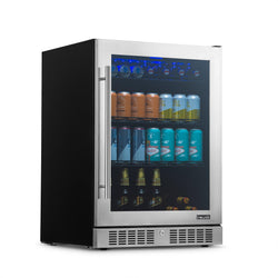 "NewAir 24"" Built-in Premium 224 Can Beverage Fridge with Color Changing LED Lights, Seamless Stainless Steel Door and Precision Temperature Control"