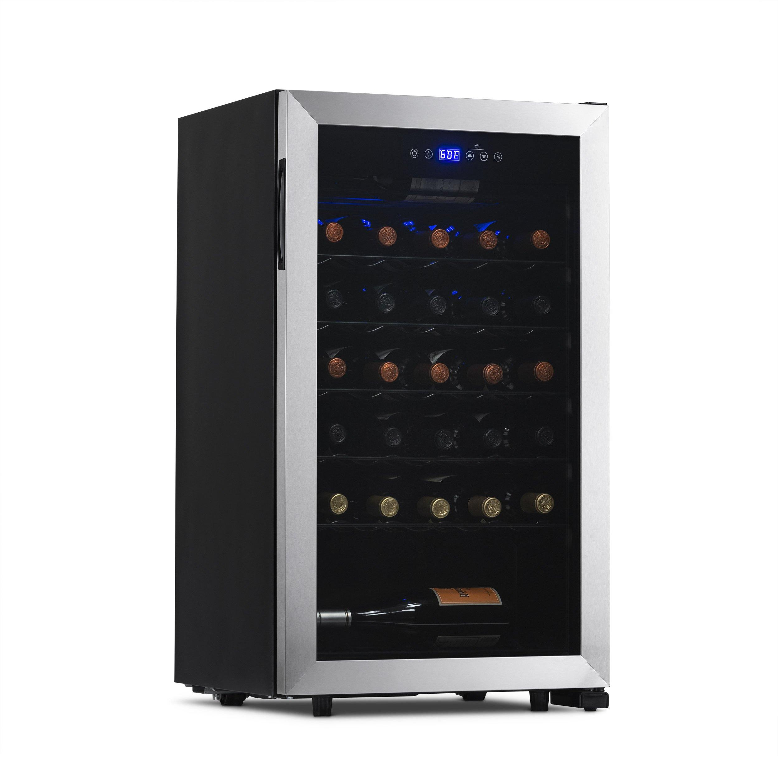 Newair Freestanding 33 Bottle Compressor Wine Fridge In Stainless Stee