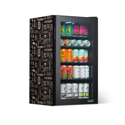 "NewAir ""Beers of the World"" Custom Designed Freestanding 126 Can Beer Fridge with SplitShelf™"