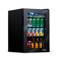 Newair 90 Can Freestanding Beverage Fridge in Onyx Black, with Adjustable Shelves and Lock