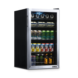 NewAir 126 Can Freestanding Beverage Fridge in Stainless Steel, with 4-Adjustable Shelves