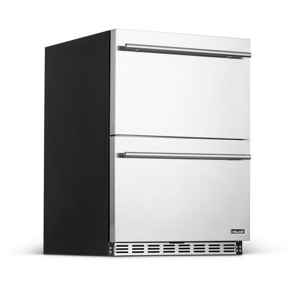 "NewAir 24"" Built-in 20 Bottle and 80 Can Dual Drawer Indoor/Outdoor Wine and Beverage Fridge"