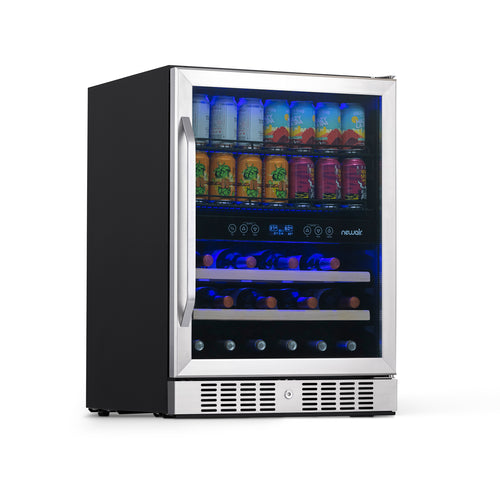"NewAir 24"" Built-in Dual Zone 20 Bottle and 70 Can Wine and Beverage Fridge"