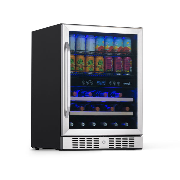 "NewAir 24"" Built-in Dual Zone 20 Bottle and 70 Can Wine and Beverage Fridge in Stainless Steel with SplitShelf™ and Smooth Rolling Shelves"