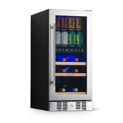 "NewAir 15"" Premium Built-in Dual Zone 9 Bottle and 48 Can Wine and Beverage Fridge in Stainless Steel with SplitShelf™"