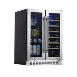 "NewAir 24"" Premium Built-in Dual Zone 18 Bottle and 58 Can French Door Wine and Beverage Fridge in Stainless Steel with SplitShelf™ and Beech Wood Shelves"