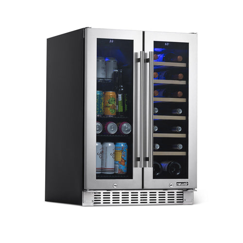 "NewAir 24"" Premium Built-in Dual Zone 18 Bottle and 58 Can French Door Wine and Beverage Fridge"