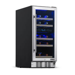 "Remanufactured NewAir 15"" Built-in 29 Bottle Dual Zone Compressor Wine Fridge in Stainless Steel, Quiet Operation with Beech Wood Shelves"