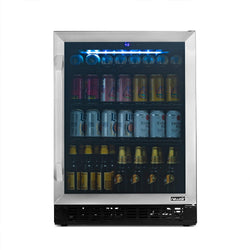 "NewAir FlipShelf™ 24"" 162 Can or 54 Bottle, Built-in or Freestanding Wine and Beverage Fridge with Reversible Shelves and Precision Temperature Control in Stainless Steel"