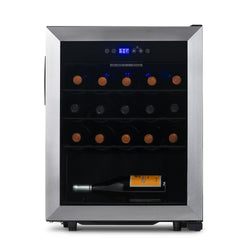 NewAir Freestanding 23 Bottle Compressor Wine Fridge in Stainless Steel, Adjustable Racks and Exterior Digital Thermostat