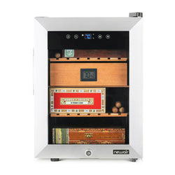 NewAir 250 Count Electric Cigar Humidor Wineador in Stainless Steel with Opti-Temp™ Heating and Cooling Function, Spanish Cedar Shelves, Digital Thermostat, and Security Lock and Key - NewAir