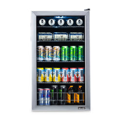NewAir 126 Can Freestanding Beverage Fridge in Stainless Steel, with 4-Adjustable Shelves - NewAir