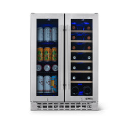 "NewAir 24"" Premium Built-in Dual Zone 18 Bottle and 58 Can French Door Wine and Beverage Fridge in Stainless Steel with SplitShelf™ and Beech Wood Shelves - NewAir"