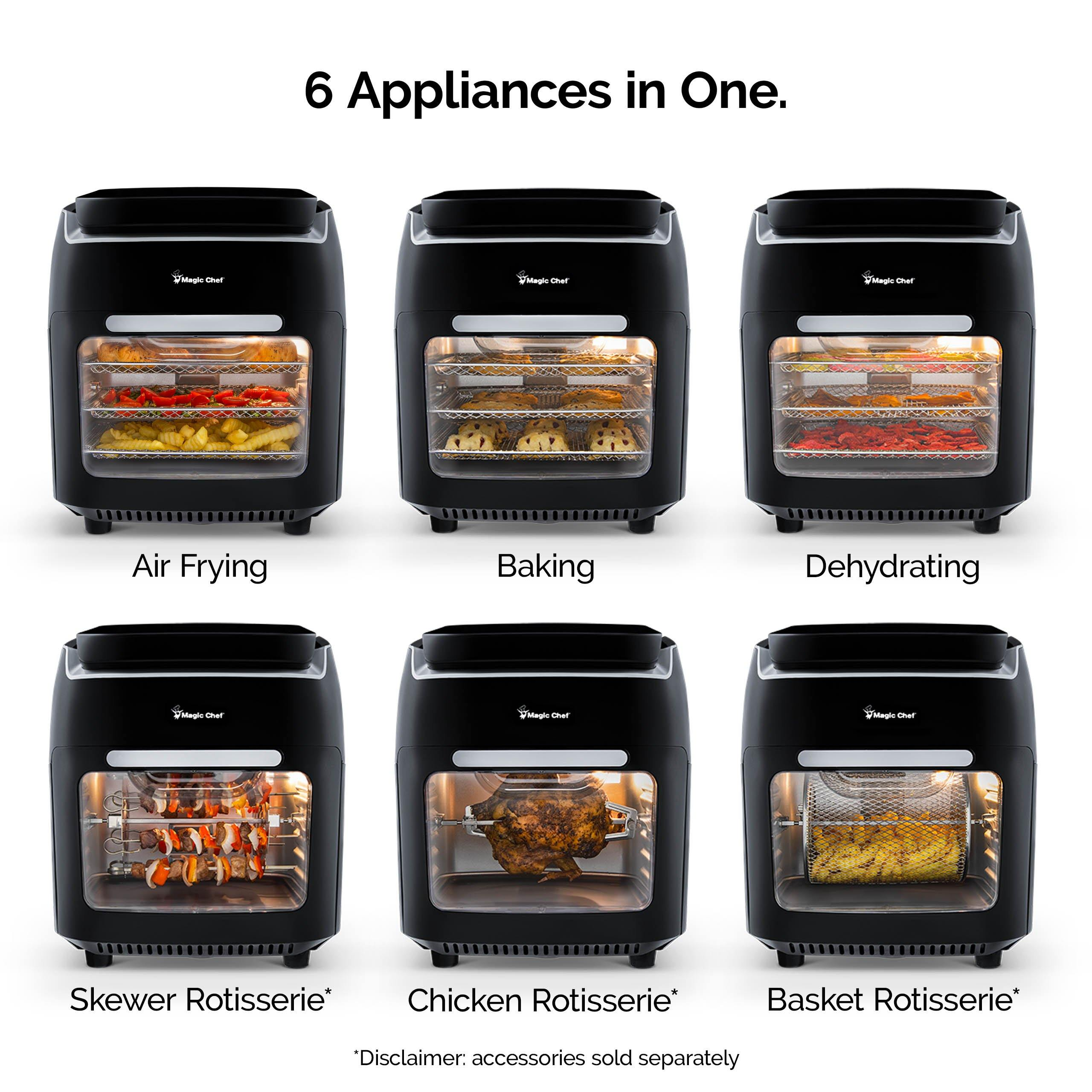 Magic Chef 10 5 Quart Digital Air Fryer Oven Rotisserie And