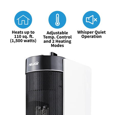 NewAir Portable Ceramic Tower Heater, Quiet and Compact